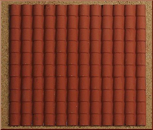 Accesorio para belén formado por un panel de plástico con forma de tejado con tejas grandes, de color rojo, de 35x 25cm