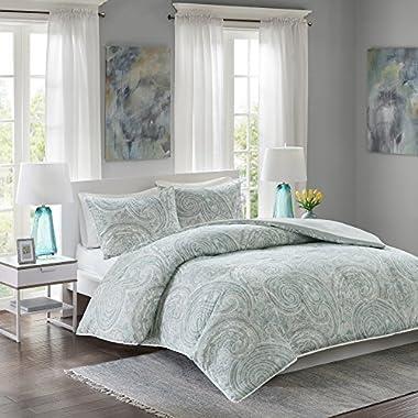Comfort Spaces – Kashmir Mini Duvet Cover Set - 3 Piece - Paisley Pattern - Blue, Grey, Full/Queen Size, includes 1 Duvet Cover, 2 Standard Shams