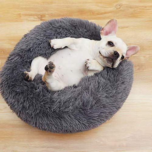 La cama es cómoda para mascotas con funda extraíble, cama ortopédica cálida para perros para reposacabezas y cuello, donut Cuddler gato cachorro cojín cama cama gris oscuro L QIANGQIANG