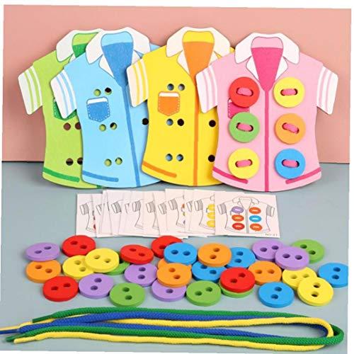Case&Cover 1 Juego de Madera Montessori la enseñanza Entre Padres e Hijos Juego Juguetes de los niños DIY Tendedero los Botones de Costura (Colores aleatorios)