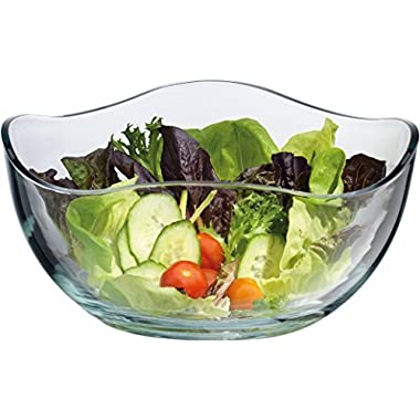 Large Clear Glass Wavy Salad Bowl, Mixing Bowl, All Purpose Round Serving Bowl