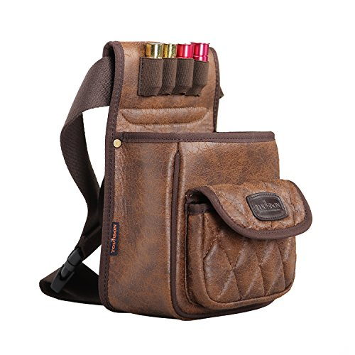 Tourbon PU Leather Shotgun Shell Bag Shooter's Bag for Range/Field