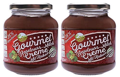 Haselnuss Milch Kakao Creme im 2er Pack | Brotaufstrich | Nusscreme | 25% Haselnuss | Gluten Frei | Ohne Transfette & Palmöl & Farbstoffe & Gentechnik | Ohne Konservierungsstoffe | 2x 330g
