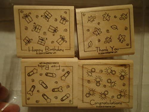 Stampin' Up  2004 FABULOUS FOUR set of 4 wood mounted rubber stamps - retirot by Stampin' Up