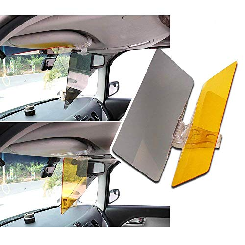 RED SHIELD Universal Car Sun Visor Extender. Transparent, Tinted Shields Day & Night. Reduce Glare from Sunlight & Oncoming Headlights Through Windshield. Drive Safer with Enhanced Visibility. [2 PK]