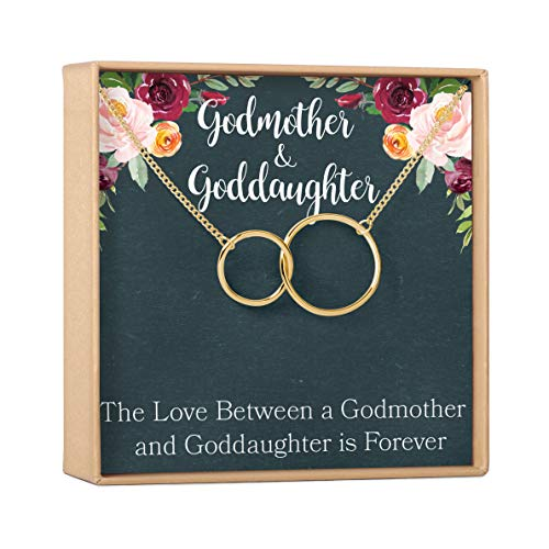 Dear Ava Godmother-Goddaughter Gift Necklace: Request Godmother Proposal, 2 Interlocking Circles (Gold-Plated-Brass, NA)