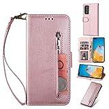 ZTOFERA Huawei P40 Pro Hülle, Magnetisch Folio Flip Wallet Leder Standfunktion Reißverschluss schutzhülle mit Trageschlaufe, Brieftasche Hülle für Huawei P40 Pro - Roségold