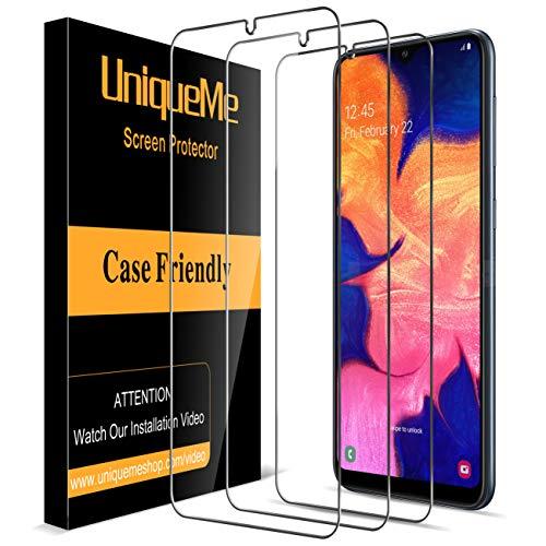 UniqueMe Vetro Temperato per Samsung Galaxy A10 Pellicola Protettiva, [3 Pezzi] [Ultra Resistente] [Bubble Free] [Garanzia di Sostituzione a Vita]