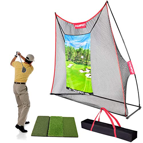 Champkey Professional 10' x 7' Golf Hitting Net | Heavy Duty Steel Frame and 5 Ply-Knotless Netting Golf Practice Nets Ideal for Indoor and Outdoor Training
