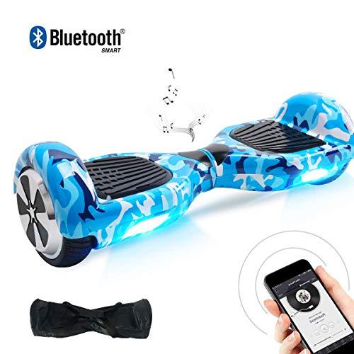 Windgoo N1 Overboard Hoverboard, 6.5 Pulgadas 250W 2WD Glyboard, Actualiza con Altavoces Bluetooth & Luz LED, Regalo para Niño Adulto (Azul Cristal)