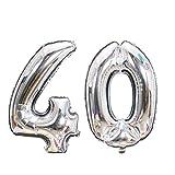 Meowoo Globo Número 40 Año Globo de Cumpleaños Foil Globo Gigante Helio Globo de Papel de Aluminio 100cm 40 Pulgada Fiesta de Aniversarios Suministros Decoración (Plata)
