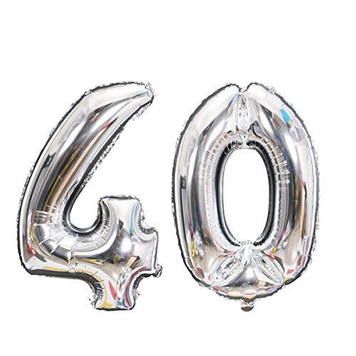 Meowoo Globo de Cumpleaños Número 40 Año Globo Gigantes Grande Helio Globo de Papel de Aluminio 100cm 40 Pulgada Fiesta de Aniversarios Suministros Decoración (Plata)