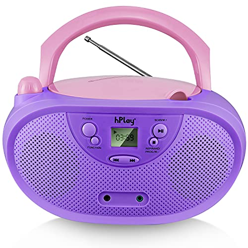 hPlay GC04 Portable CD Player Boombox with AM FM Stereo Radio Kids CD Player LCD Display, Aux-Port Supported AC or Battery Powered - Pastel Violet