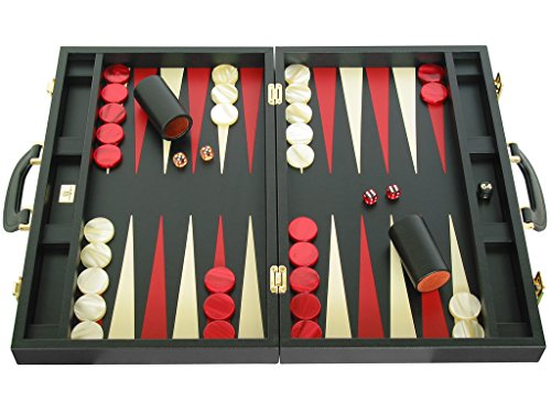 Zaza & Sacci Leather Backgammon Set - Board Game - 20' Black Case