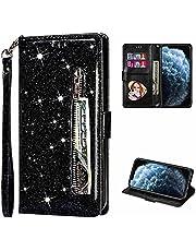 TTNAO Hoesje voor Samsung Galaxy S10+/S10 Plus, Flip Wallet Case Magneet Luxe Glitter Cover PU-lederen Clamshell-hoes met Kaartsleuf Schokbestendige Telefoonhoes (Zwart)