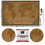 GREAT ART Papier Peint Photo Carte du Monde Rétro par GREAT ART 336x238cm / 132.3x93.7 pouces – Papier Peint 8 Unités plus colle incluse.