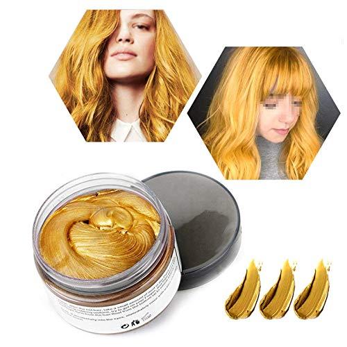Haarwachs Temporäres Haarfarbe Wachs, Unisex Haarfärbemittel Wachs, Waschbares Pflanzenformel Mattes Natürliches Buntes Haarwachs (120g Gold)