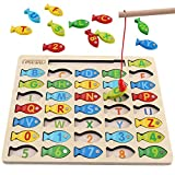 Magnetic Wooden Fishing Game Toy for Toddlers, Alphabet Fish Catching Counting Games Puzzle with Numbers and...