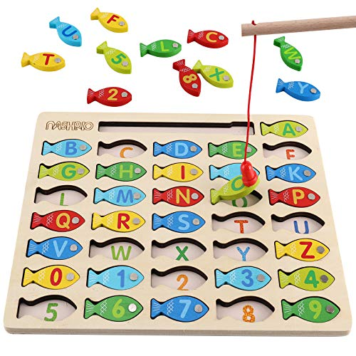 Magnetic Wooden Fishing Game Toy for Toddlers, Alphabet Fish Catching Counting Games Puzzle with...
