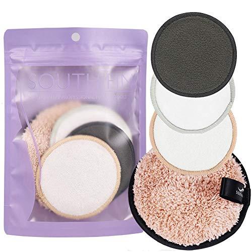 Waroomss - 4 Discos desmaquillantes Reutilizables, Discos de algodón Naturales de Doble Capa con Cesta para la Colada, Toallas Suaves y ecológicas para la Limpieza del Rostro