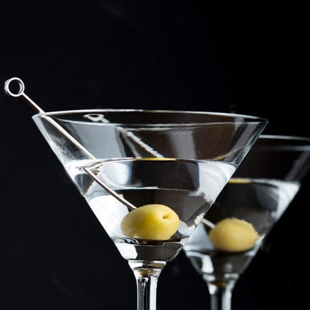 Cylindrical Cabilock 8pcs Cocktail Picks Stainless Steel Martini Olive Skewers Reusable Sandwich Sticks Appetizer Toothpicks Fruit Stick