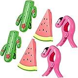 Clips de toalla de playa, 6 unidades, para silla de flamenco, sandía, cactus, toalla, pinzas para colgar ropa de flamenco, alfileres en