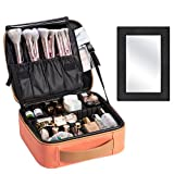 Travel Makeup Bag with Mirror Leather Travel Makeup Bag Organizer Train Case Cosmetic Storage Bag Organizer Portable Brush Holder with Adjustable Divider for Jewelry Tools Cosmetics Train Case for Women - Coral