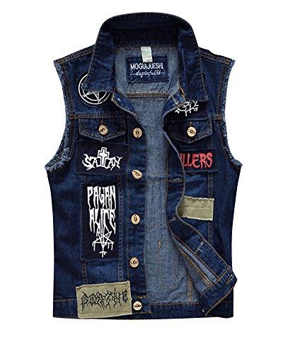 ShiFan Herren Beilaufige Weste Patch Ärmellose Denim Weste Jeansweste Jeansjacke Zerrissen Oberteile Jacket Blau L