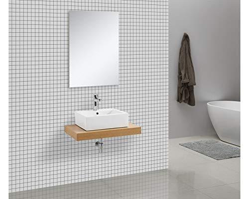 Waschtischkonsole OCEAN 75 x 50 cm Echtholz Eiche, Badezimmer Badmöbel Waschbecken Bad Waschtisch Echtholz