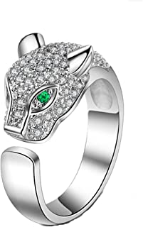 Leopard Head Ring Adjustable White Gold Ring with Cubic Zirconia Inlay Uniquely Stylish Ring for Women