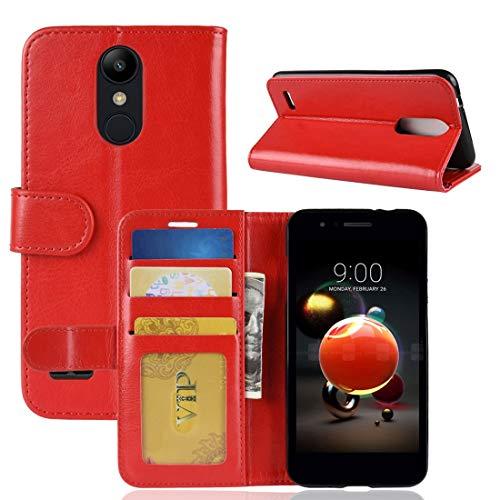 La selección de Cici For el Caso del LG K8 (2018) PU + TPU Caballo Loco Textura Horizontal de Cuero del tirón con la Carpeta y el Soporte y Las Ranuras for Tarjeta (Negro) (Color : Red)