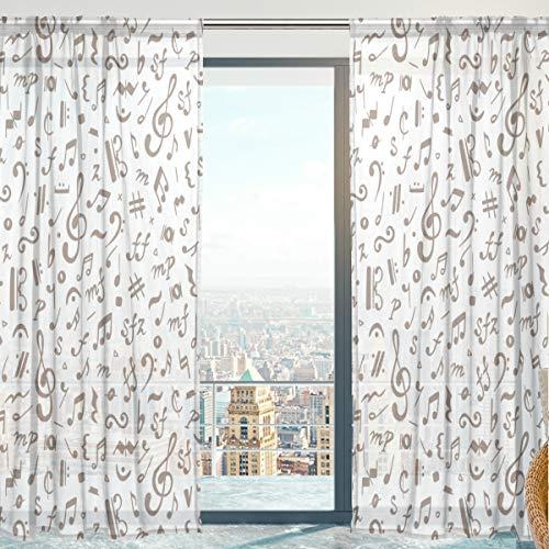 Mnsruu Cortinas de Gasa Transparente, Notas Musicales, Cortinas Transparentes para recámara, Sala de Estar, 140 x 213 cm, 2 Paneles