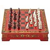CTDMMJ Juego de ajedrez Juego de ajedrezVintage 32 Piezas de ajedrez Tablero de ajedrez de Madera