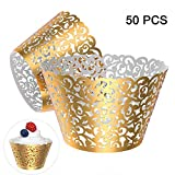 Gospire 50 pcs Pearl Lace Filigree Wedding Cupcake Wrapper Baking Cake Cups Wraps Party Decoration Laser Cut (Bright Gold)