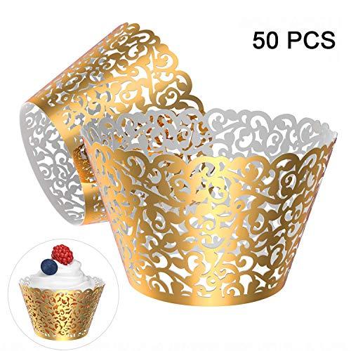 Gospire, filigrane Spitzen-Hochzeits-Cupcake-Dekoration, zum Backen, als Kuchen-Umrandung, Party-Dekoration, lasergeschnitten, 50 Stück Bright Gold