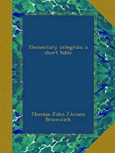 Elementary integrals; a short table