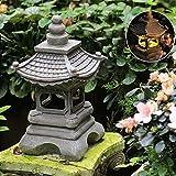 Ro6ph Gartenlampe Hof Steinlampe, japanische Outdoor-japanische Stil Solar Zen Garten Beleuchtung Laterne Pagoda Licht Solar Gartenlampe Statue Farm Balkon Dekoration Lampe