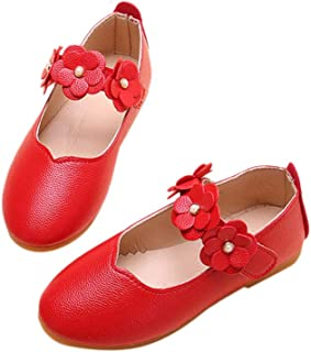 Hopscotch Girls PU Mary Jane with Floral Strap - Red