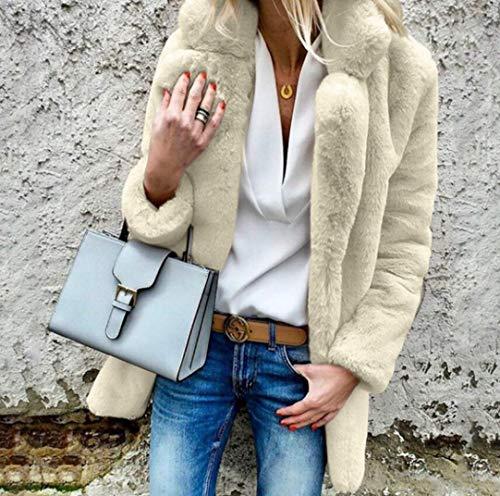 Sallypan Mode Herbst und Winter-Pelz-Starke warme Jacke Damen Langarm-Revers-Kragen Frauen Solid Color eleganter, weicher Mantel,Apricot,S