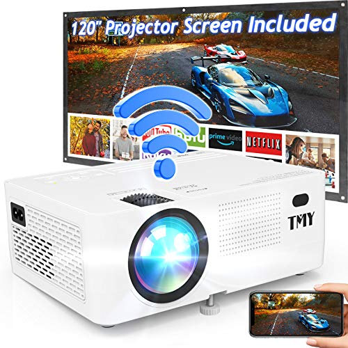 TMY WiFi Projector with 120″ Screen, [200 ANSI - Over 7500 Lux Brightness], 1080P Full HD Enhanced Projector, Portable Projector Compatible with TV Stick HDMI USB for Home Cinema & Outdoor Movies.