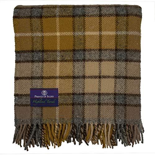 Prince of Scots Tagesdecke, Schottenkaro, Tweed, 100 prozent reine Schurwolle, flauschig Natürlicher Buchanan