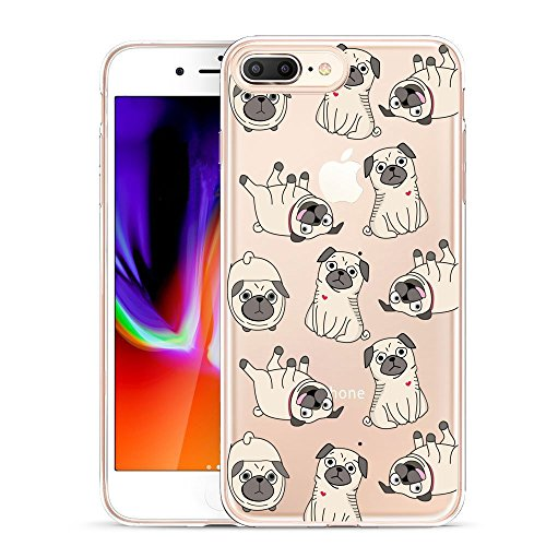 Unov Compatible Case Clear with Design Embossed Pattern TPU Soft Bumper Shock Absorption Slim Protective Case for iPhone 7 Plus iPhone 8 Plus 5.5 Inch(Pug Dog)
