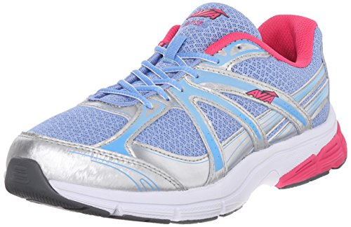 AVIA Women's Rise Running Shoe, Chrome Silver/Elite Blue/Geranium Pink, 6 M US