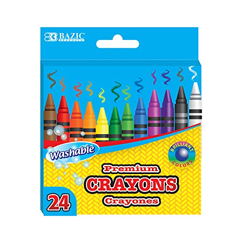 BAZIC Washable Crayons 24 Color, Coloring Drawing Assorted Colors Crayon, Non Toxic, for School Art, Gift for Kids Artist (24/Pack), 1-Pack