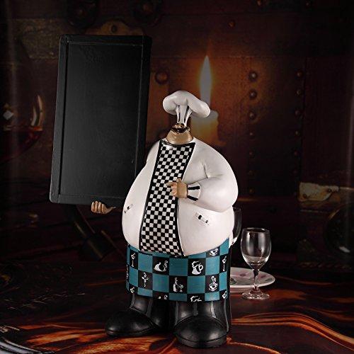 UJHNM Estatuas para Decoración del Hogarestatua Decorativa del Chef Gordo del Chef, Resina, Tablero De Mensajes para Hornear, Menú, Manualidades