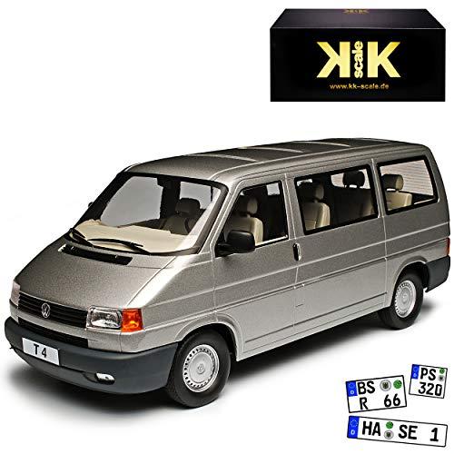 KK-Scale Volkwagen T4 Caravelle Bus Personen Transporter Grau 1990-2003 1/18 Modell Auto
