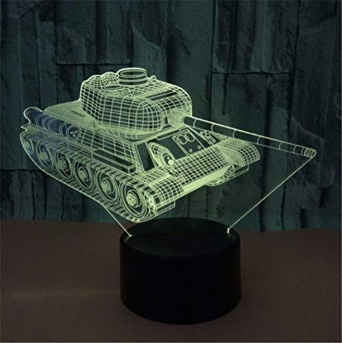 Lámpara de Noche de Ilusión óptica 3D LED de la carga USB del efecto creativo de la ilusión 3D con 7 colores que cambian para las decoraciones del hogar Lado del tanque