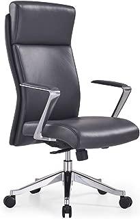 Adjustable Ergonomic Draper Leather Executive Chair with Aluminum Frame- Dark Grey