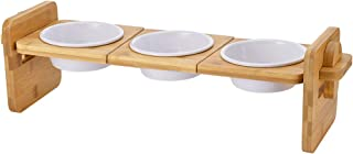 Petacc Elevated Dog Cat Bowls Raised Pet Bowls, 3 Bowl Pet Feeder, Bowl for Cats Cat Feeders with Bamboo Holder and 3 Melamine Bowls for Cats and Small Dogs, 2 Usage Ways