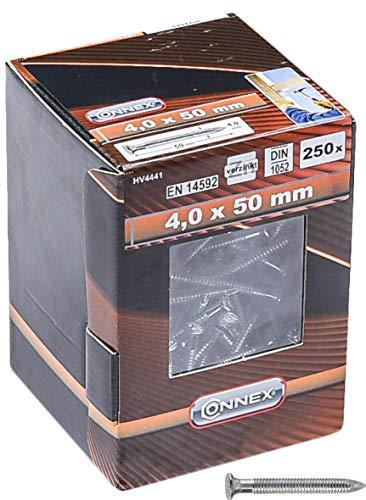 Connex Ankernägel 4,0 x 50 mm - 250 Stück - Verzinkt - Profilierter Schaft - Aufbewahrung in wiederverwendbarem Karton - Ideal für tragende Verbindungen / Rillennägel / Kammmnägel / Großpack / HV4441